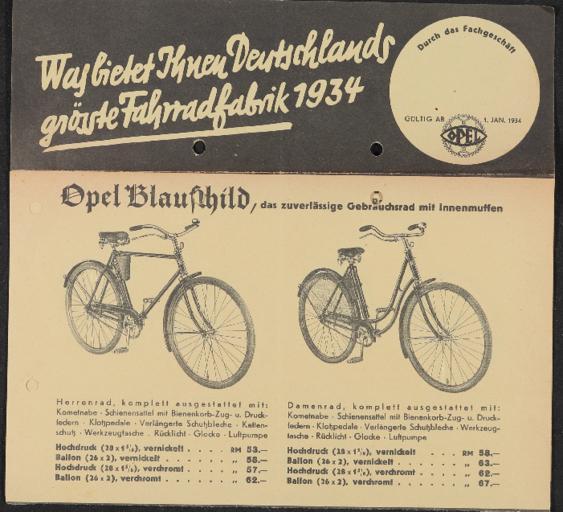 Opel Fahrräder Faltblatt 1934