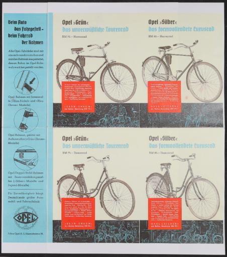 Opel Fahrräder Faltblatt Plakat 1930er Jahre