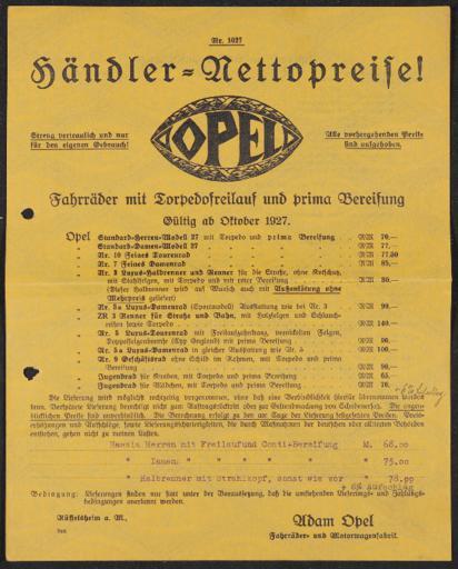 Opel Fahrräder Preisliste 1927