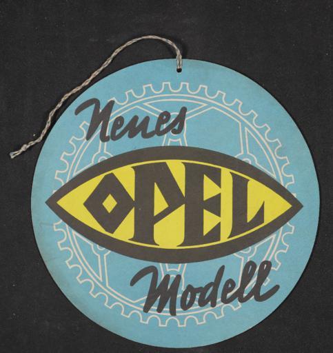 Opel Neues Modell Anhängeschild 1920er Jahre
