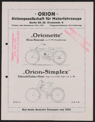 Orion Aktiengesellschaft für Motorfahrzeuge Prospekt 1922