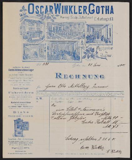 Oskar Winkler, Rechnung 1901