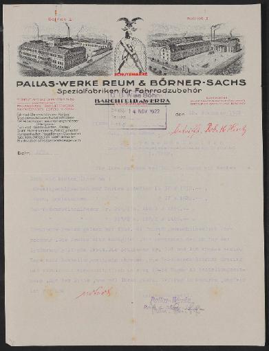 Pallas-Werke Fahrradzubehör, Angebotsschreiben 1922