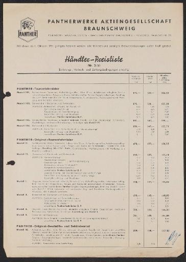 Panther Preisliste 1951