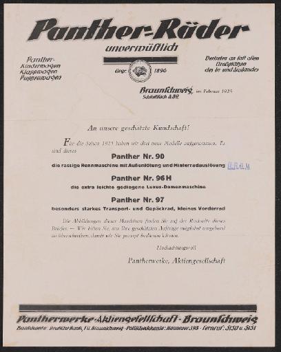 Panther Räder Information für Händler 1925