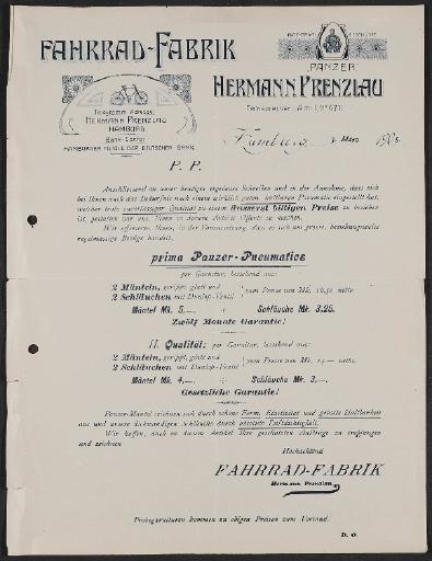 Fahrrad-Fabrik Hermann Prenzlau, Panzer Fahrräder, Werbescheiben 1905