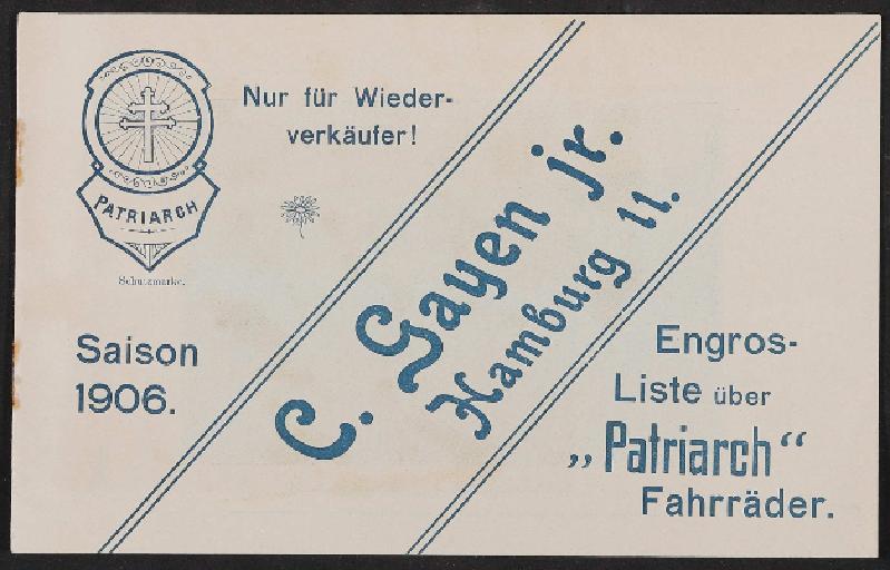 Patriarch Fahrräder, Engros Liste, 1906