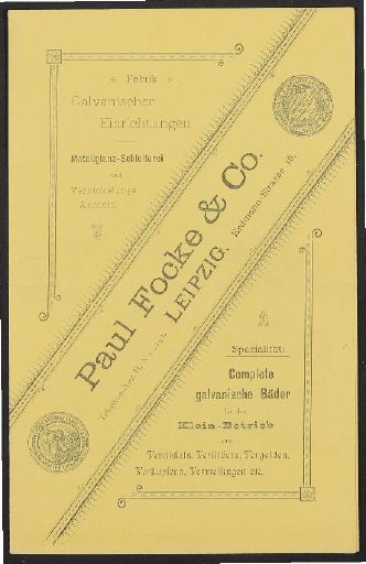 Paul Focke, Vernickelungen, Faltblatt, 1900er Jahre
