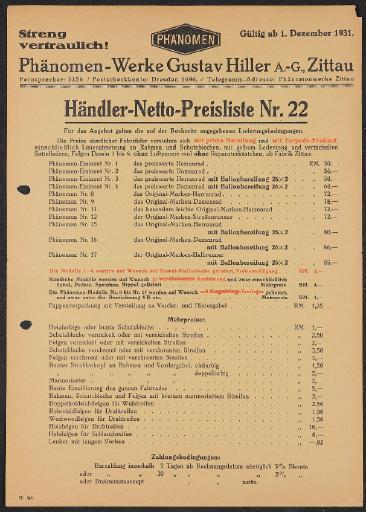 Phänomen Preisliste 1931