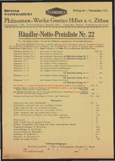 Phänomen Preislisten 1930er Jahre