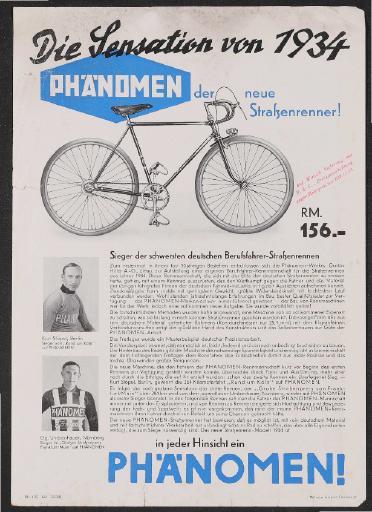 Phänomen Straßenrenner Werbeblatt 1934