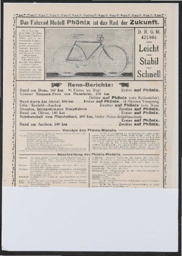 Phönix Werbeblatt 1930er Jahre