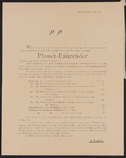 Planet Fahrräder Information für Händler 1898