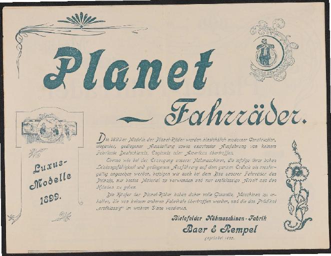 Planet Fahrräder Prospekt 1899