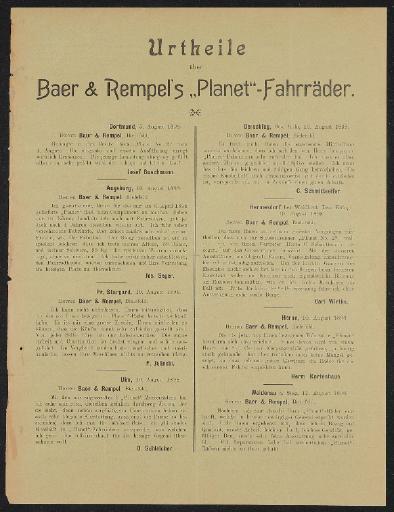 Planet-Fahrräder Werbeblatt mit Bewertungen 1898