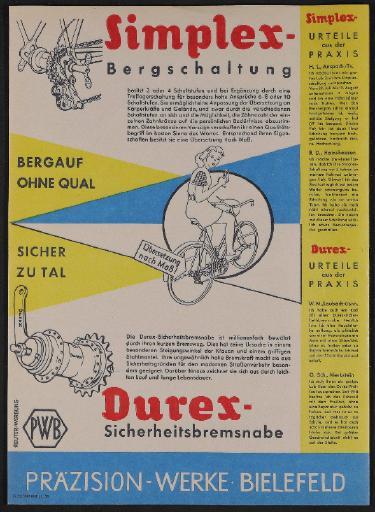 Präzision-Werke Bielefeld Simplex Kettenschaltung und Durex Sicherheitsbremsnabe Werbeblatt 1958