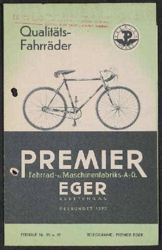Premier Fahrräder Faltblatt 1940