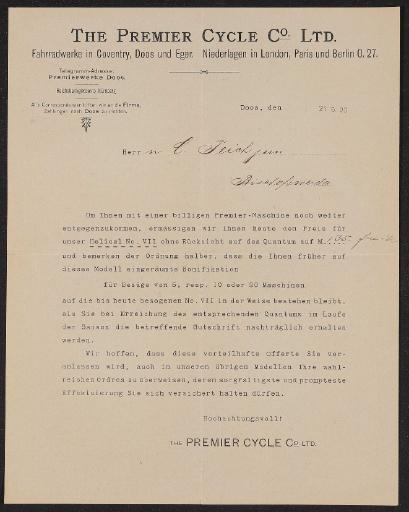 Premier Information für Händler 1898