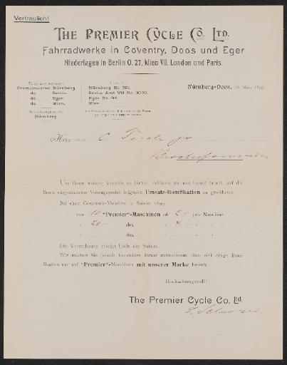 Premier Information für Händler 1899
