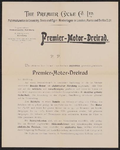 Premier Motor-Dreirad Prospekt 1898