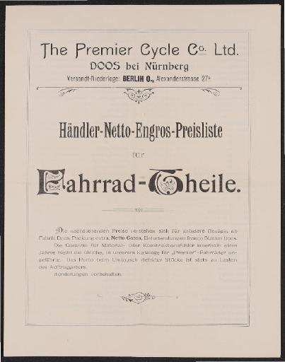 Premier Preisliste für Fahrradtheile 1890er Jahre