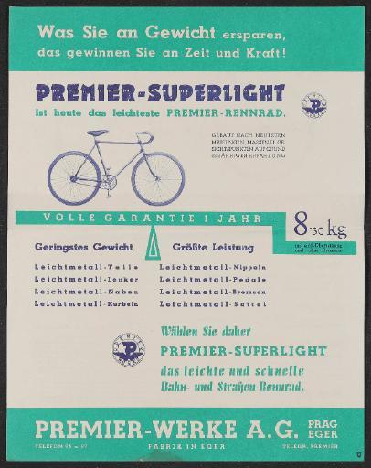 Premier Rennrad Werbeblatt 1936