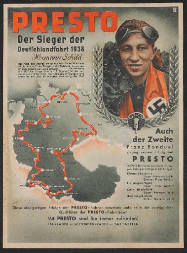 Presto Fahrräder Werbeblatt   1938