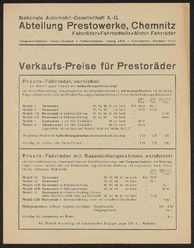 Presto Räder Preislisten 1930er Jahre