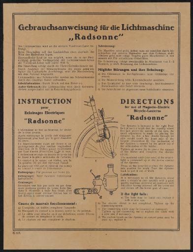 Gebrauchsanweisung für die Lichtmaschine Radsonne Anleitung 30er Jahre
