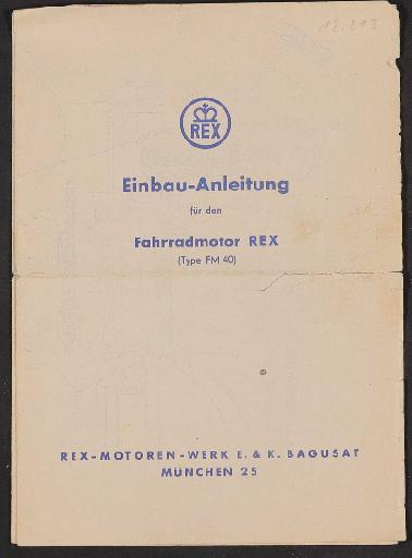 Rex Fahrradmotor, Einbau-Anleitung 1953