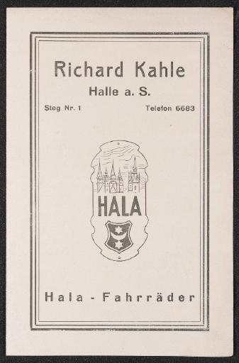 Richard Kahle Hala-Fahrräder Halle Faltblatt 20er Jahre