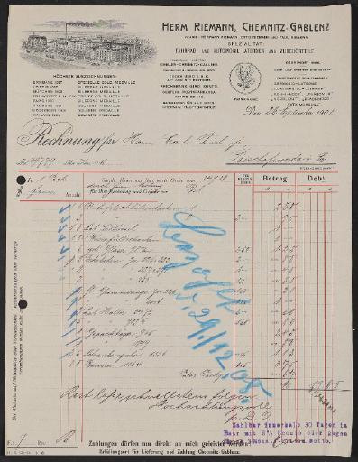 Riemann, Rechnung 1908