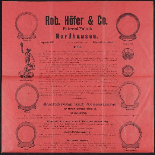 Rob. Höfer u. Co. Fahrrad-Fabrik Prospekt 1895