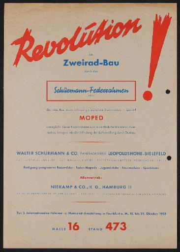 Schürmann-Federrahmen Werbeblatt 1953