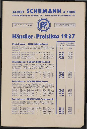 Schumann Preisliste 1937