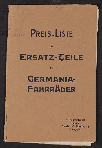 Germania Preis-Liste der Ersatz-Teile um 1900