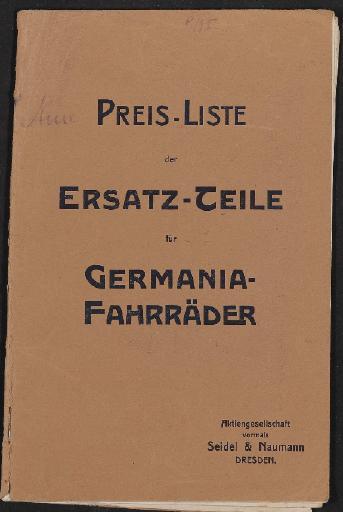 Germania-Fahrräder, Preis-Liste der Ersatz-Teile, 1910er Jahre