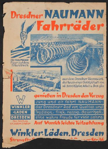 Naumann Fahrräder Dresden, Werbeblatt 1920er Jahre