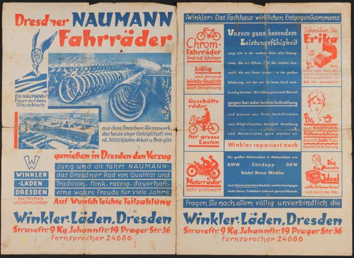 Naumann Fahrräder Prospekt 1930er Jahre