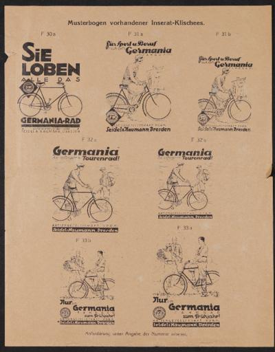 Naumann Musterbogen für Inserat-Klischees 1920er Jahre