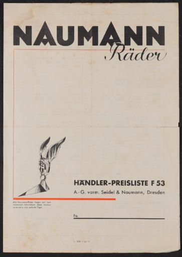 Naumann Räder Preisliste 1930er Jahre