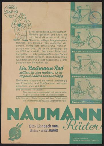 Naumann Räder Werbeblatt 1930er Jahre