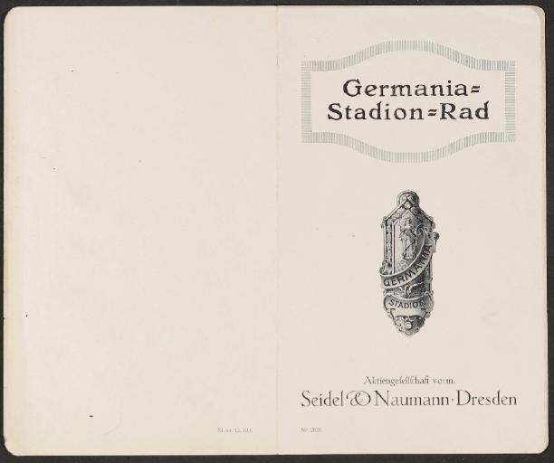 Seidel u. Naumann Germania-Stadion-Rad Faltblatt 1920er Jahre