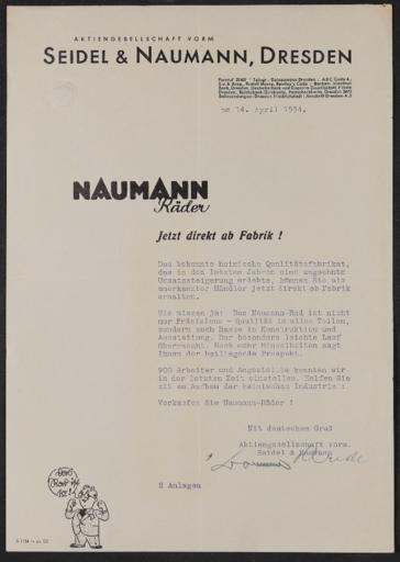 Seidel u. Naumann Händleranschreiben 1934