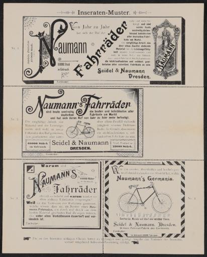 Seidel und Naumann Fahrräder Inseraten-Muster 1910er Jahre