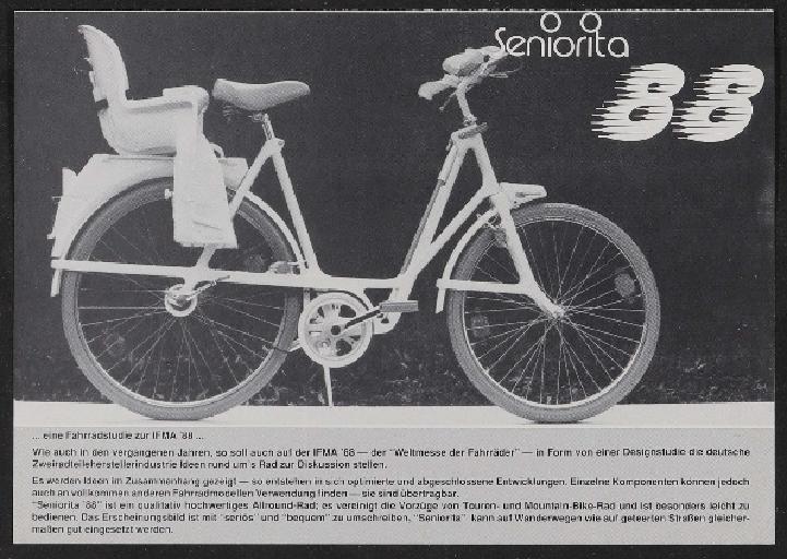 Seniorita, Fahrradstudie IFMA 1988 Werbeblatt 1988