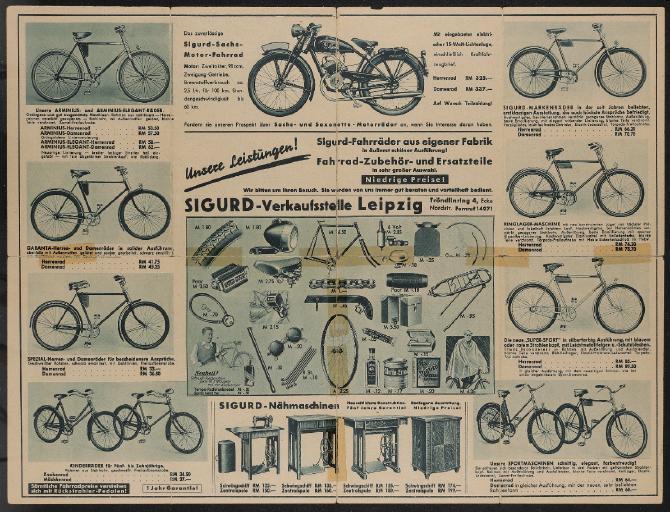 Sigurd Fahrräder aus eigener Fabrik Werbeblatt 30er Jahre