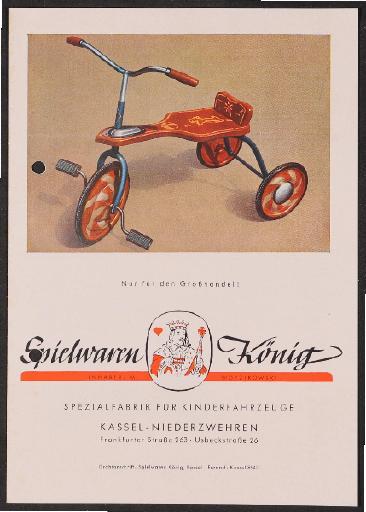 König-Kinderfahrzeuge, Spielwaren König Spezialfabrik für Kinderfahrzeuge Prospekt 1950er Jahre