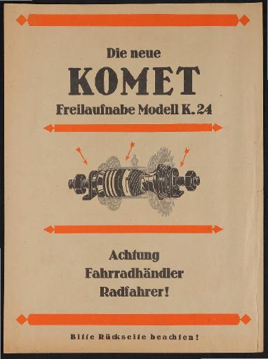 Komet Freilauf-Nabe Modell K 24 Info-Blatt 1924