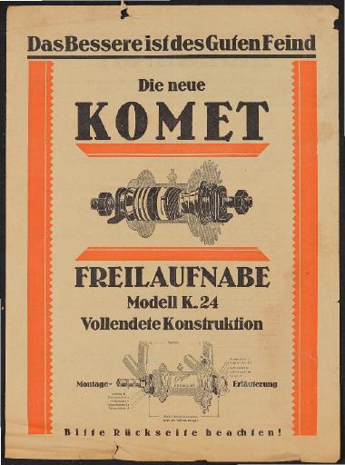 Komet Freilaufnabe Werbeblatt 1924